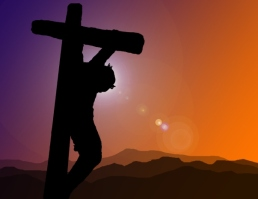 A silhouette of Christ on the cross at Calvary